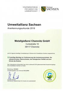 Umweltallianz Urkunde 2018